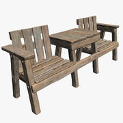 Wooden Chair Table Combo 3d model