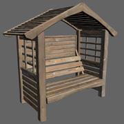 Sedile da giardino con tetto 3d model
