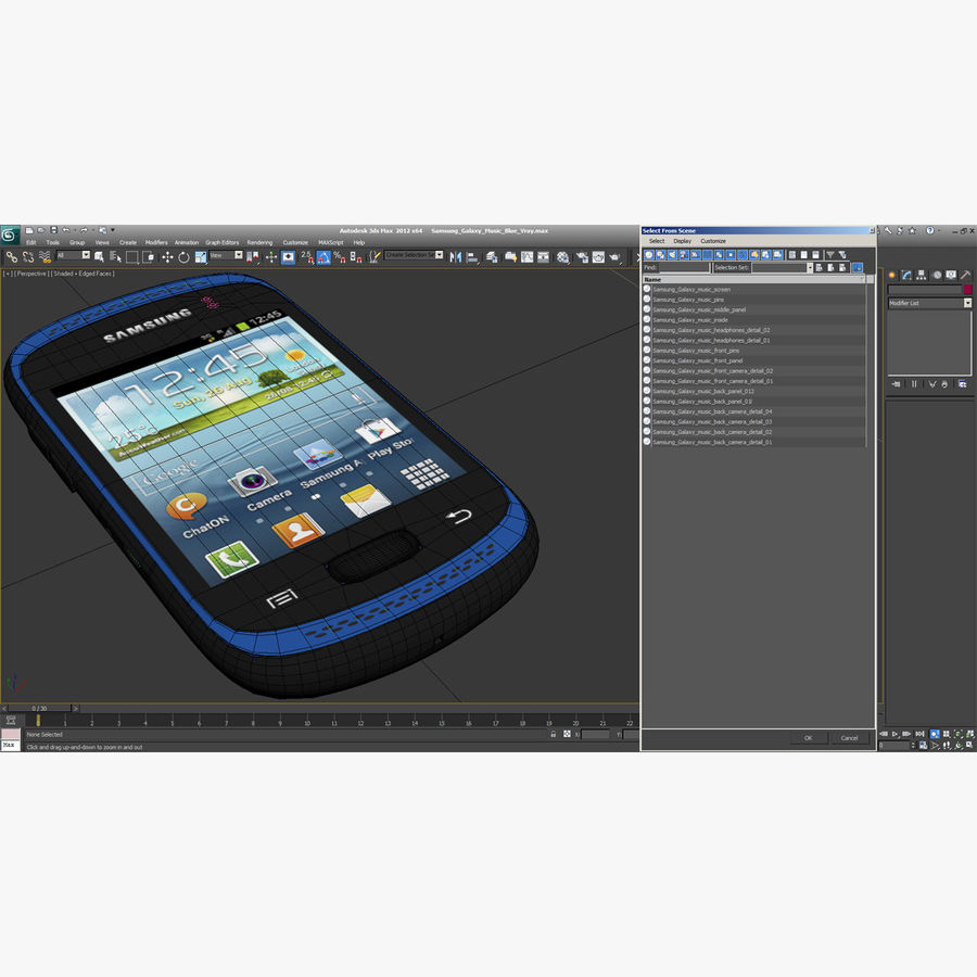 Samsung Galaxy Music Blue royalty-free 3d model - Preview no. 18