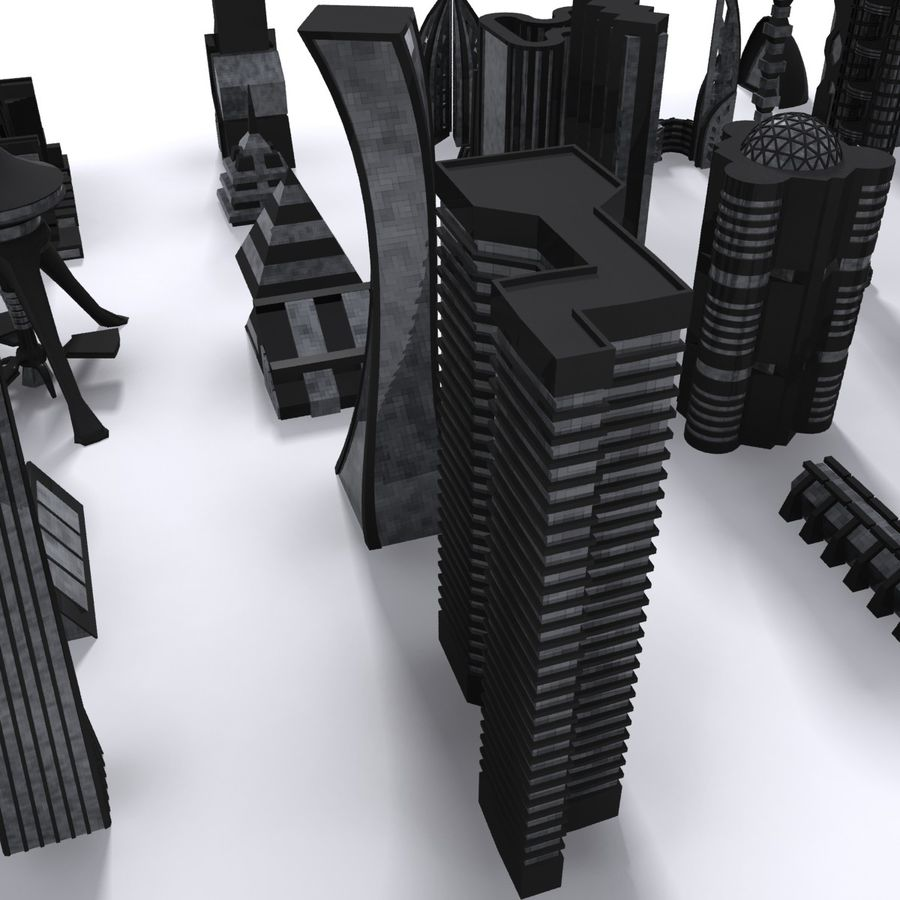 Sci Fi Futuristic City royalty-free 3d model - Preview no. 6