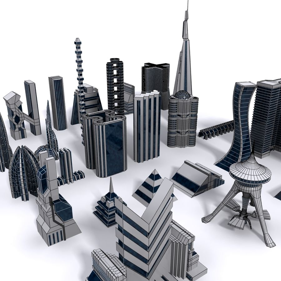 Sci Fi Futuristic City royalty-free 3d model - Preview no. 8