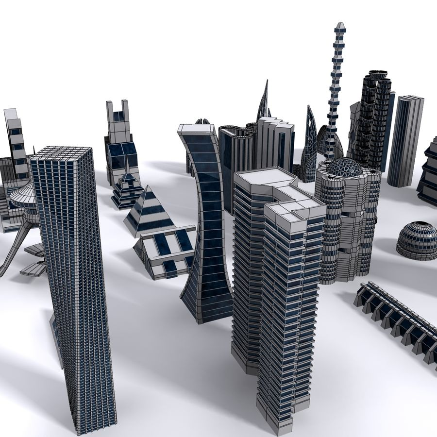 Sci Fi Futuristic City royalty-free 3d model - Preview no. 9
