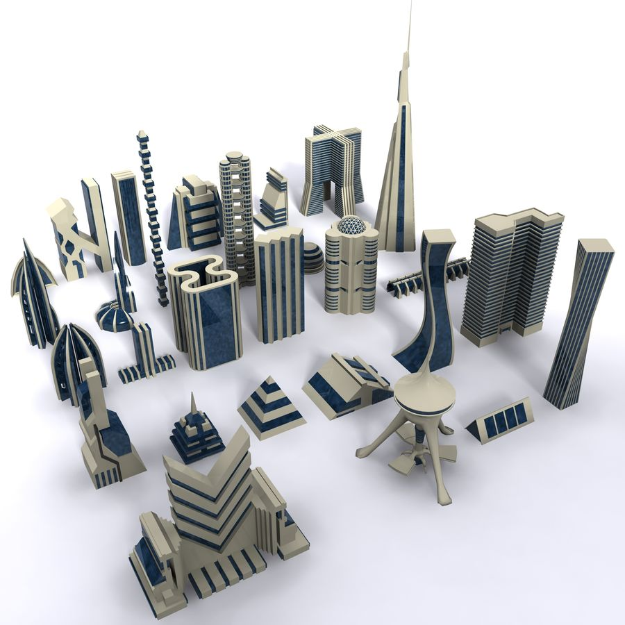 Sci Fi Futuristic City royalty-free 3d model - Preview no. 1