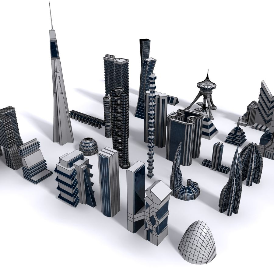 Sci Fi Futuristic City royalty-free 3d model - Preview no. 7