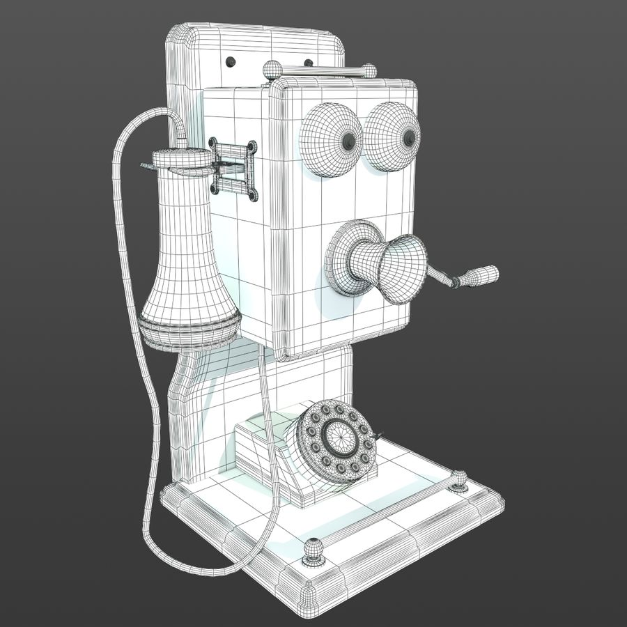 Old Phone royalty-free 3d model - Preview no. 7