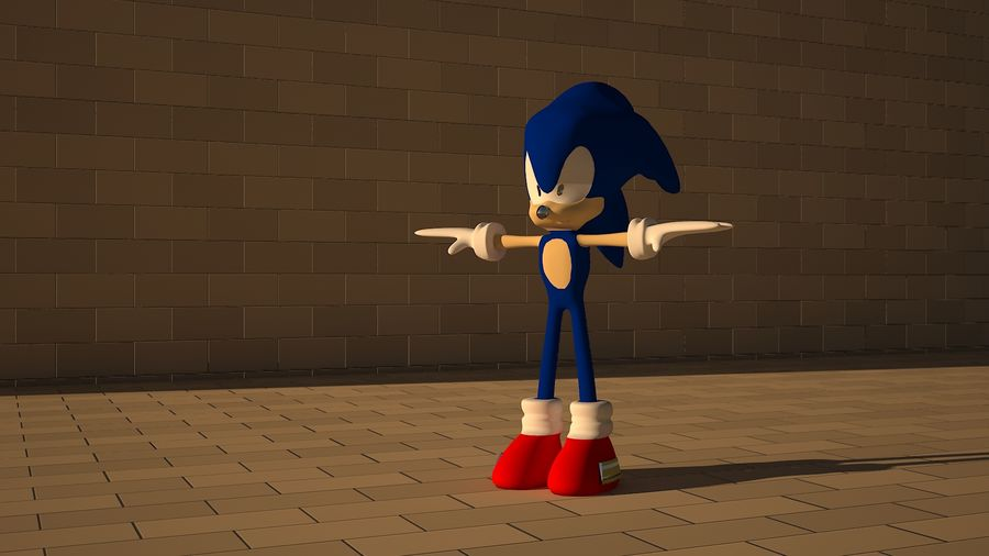 Sonic 3D High Poly royalty-free 3d model - Preview no. 1