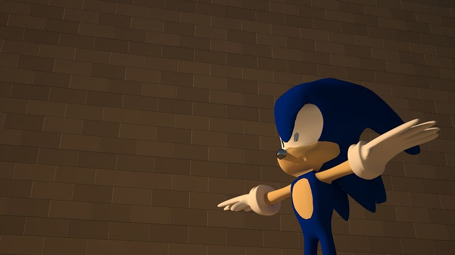 Sonic 3D High Poly royalty-free 3d model - Preview no. 2