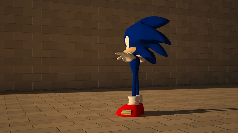 Sonic 3D High Poly royalty-free 3d model - Preview no. 5