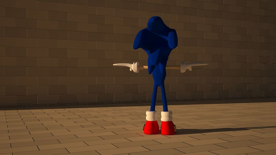 Sonic 3D High Poly royalty-free 3d model - Preview no. 6