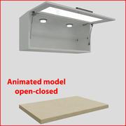 向上90厘米玻璃门厨房家具1 3d model