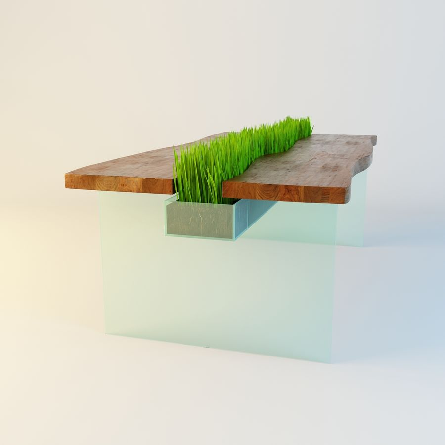 bord med gräs royalty-free 3d model - Preview no. 2
