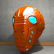 Versleten Cyborg-helm 3d model