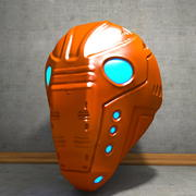 Capacete Cyborg Desgastado 3d model