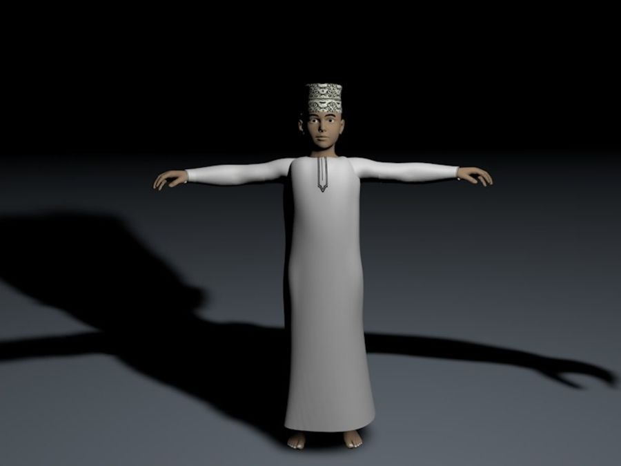 yüksek poli Arap çocuk (Umman) royalty-free 3d model - Preview no. 5