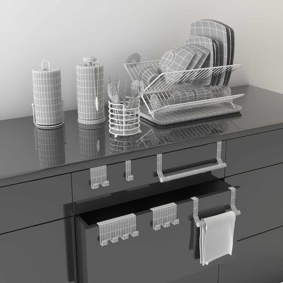 Kitchen Accessories royalty-free 3d model - Preview no. 8