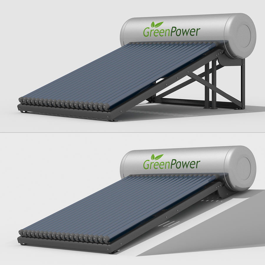 Solar Water Heater royalty-free 3d model - Preview no. 4