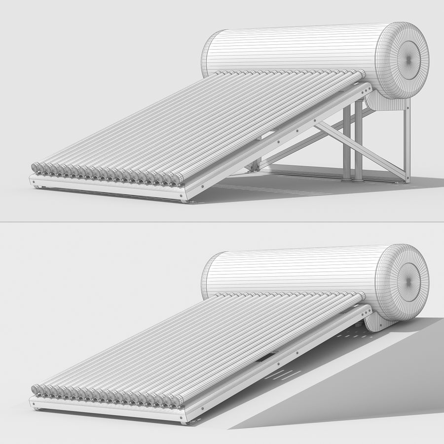 Solar Water Heater royalty-free 3d model - Preview no. 12