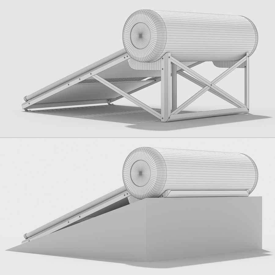 Solar Water Heater royalty-free 3d model - Preview no. 13