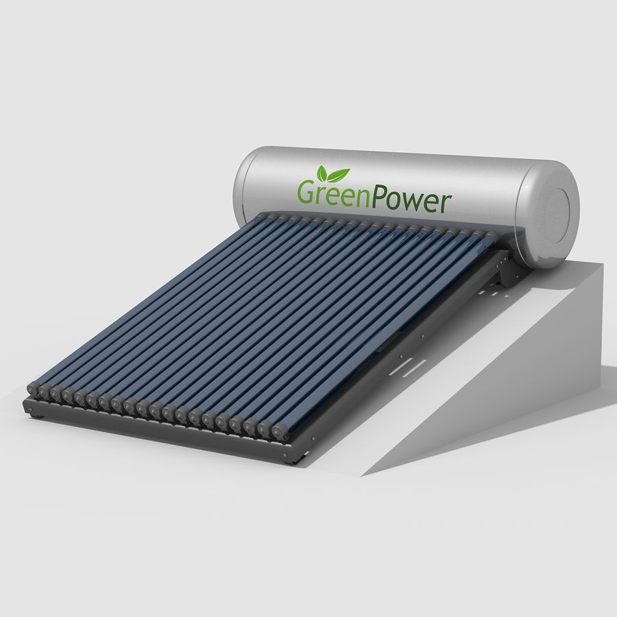 Solar Water Heater royalty-free 3d model - Preview no. 3