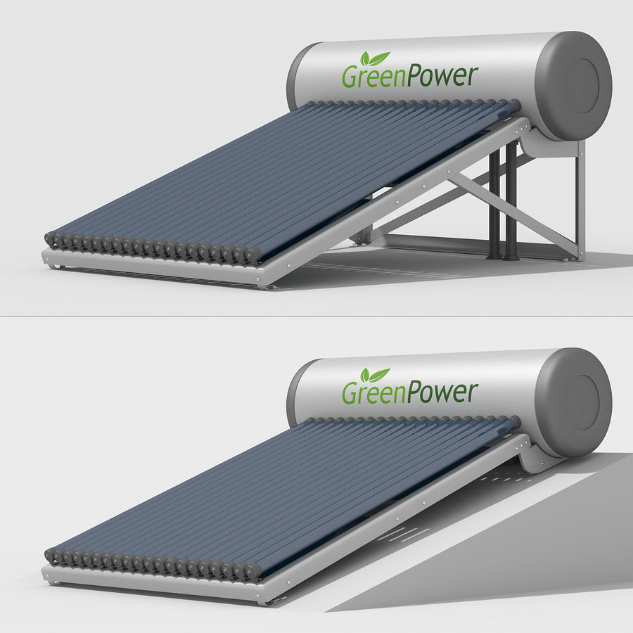 Solar Water Heater royalty-free 3d model - Preview no. 5