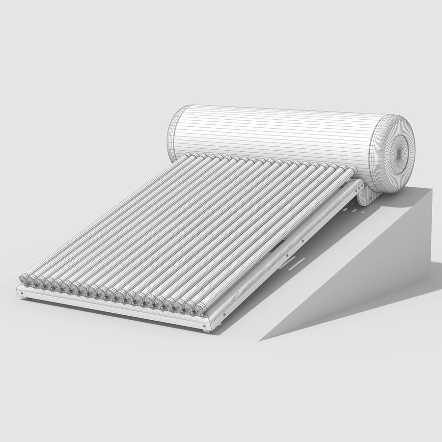 Solar Water Heater royalty-free 3d model - Preview no. 11