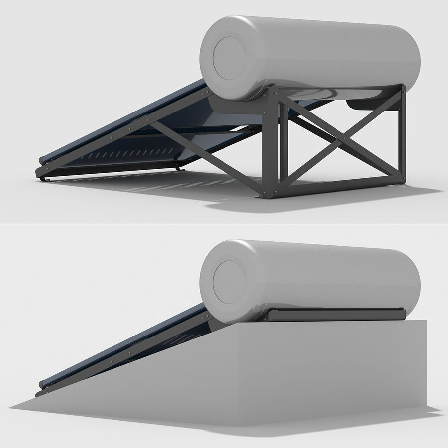 Solar Water Heater royalty-free 3d model - Preview no. 6