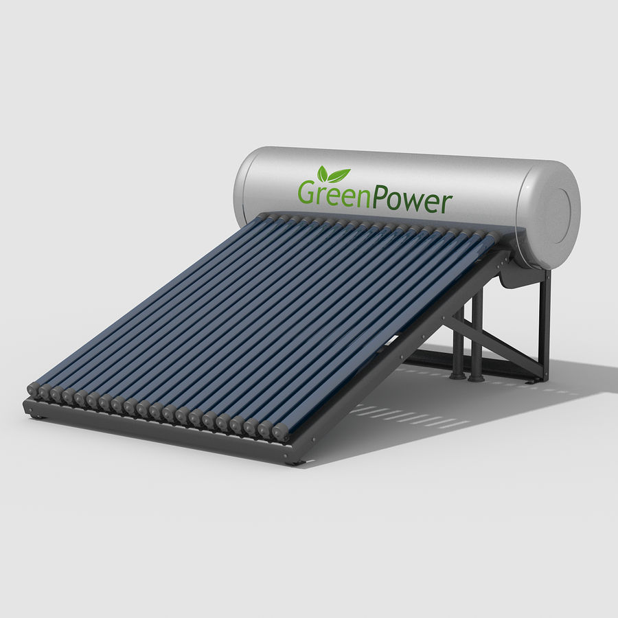 Solar Water Heater royalty-free 3d model - Preview no. 2