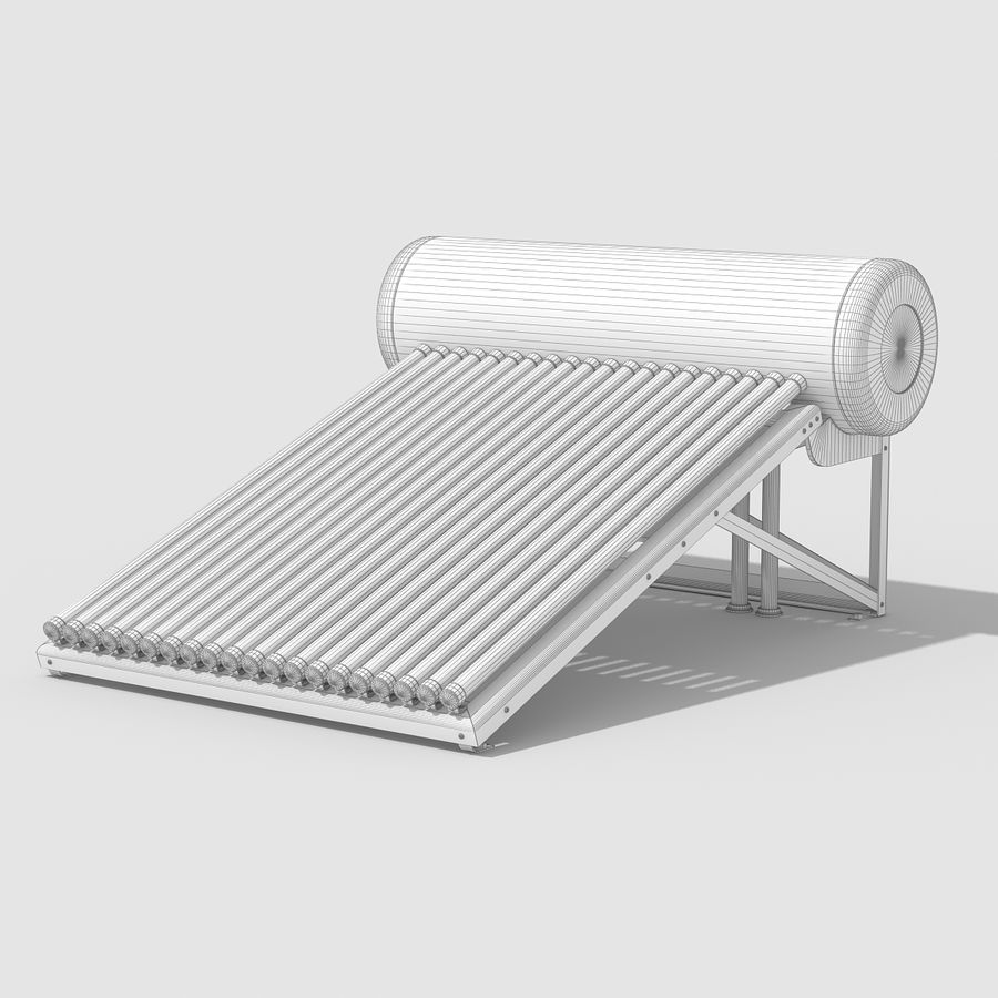 Solar Water Heater royalty-free 3d model - Preview no. 10