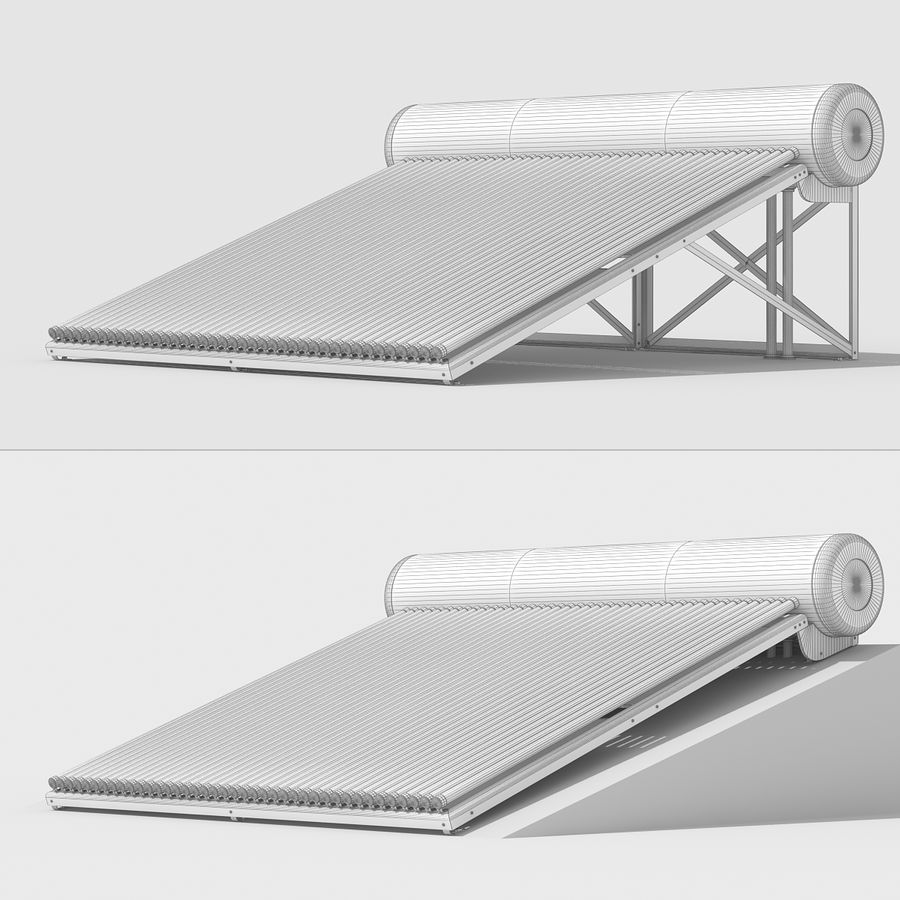 Solar Water Heater Large royalty-free 3d model - Preview no. 12