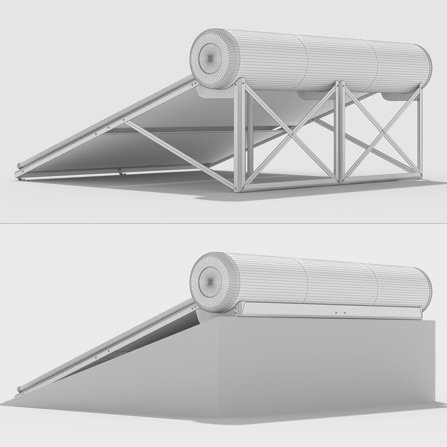 Solar Water Heater Large royalty-free 3d model - Preview no. 13
