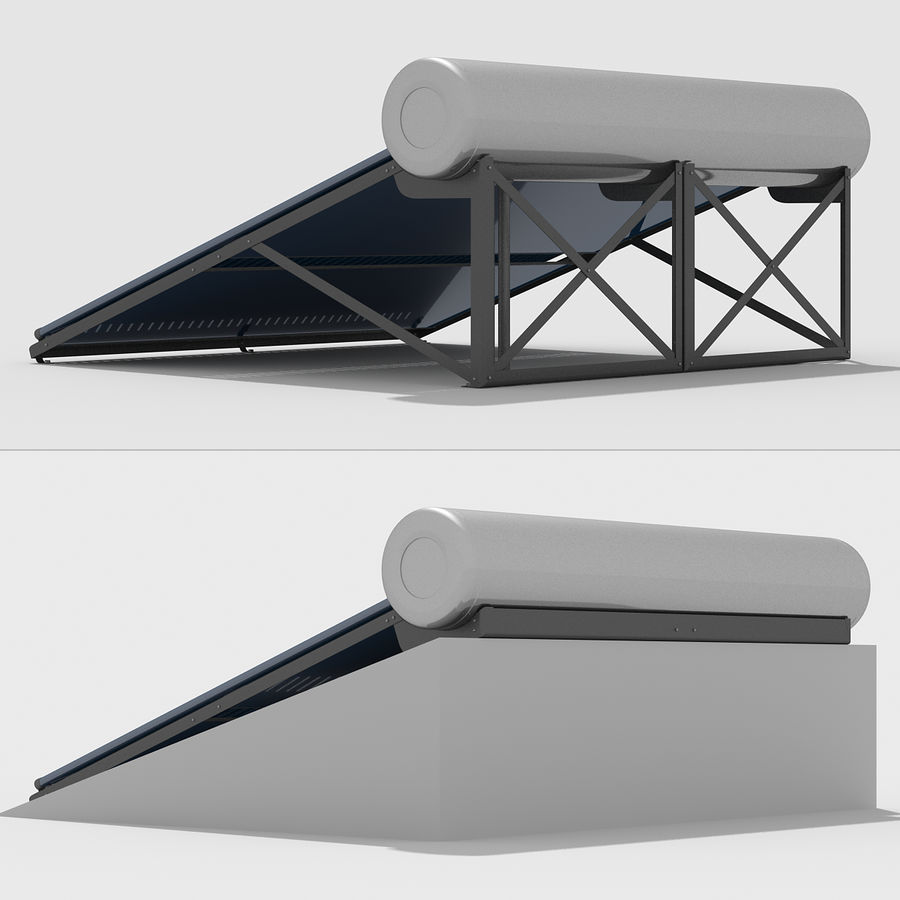 Solar Water Heater Large royalty-free 3d model - Preview no. 6
