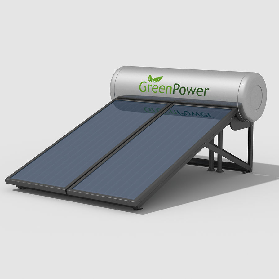 Solar Water Panels royalty-free 3d model - Preview no. 2