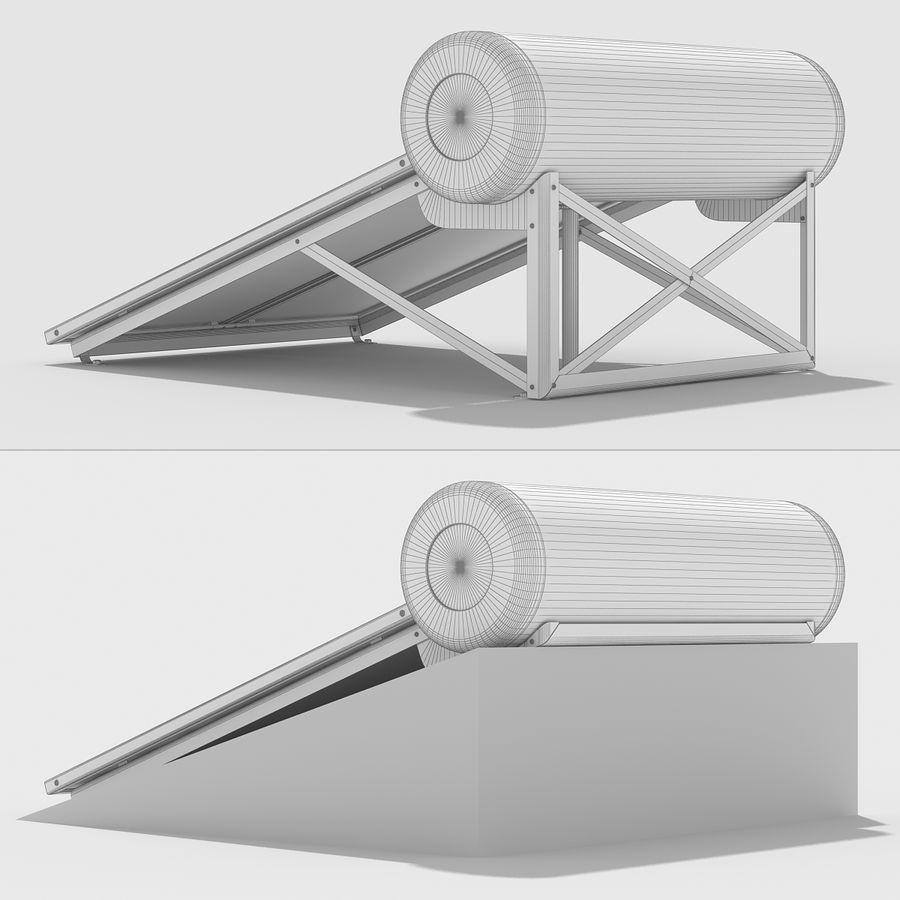 Solar Water Panels royalty-free 3d model - Preview no. 14