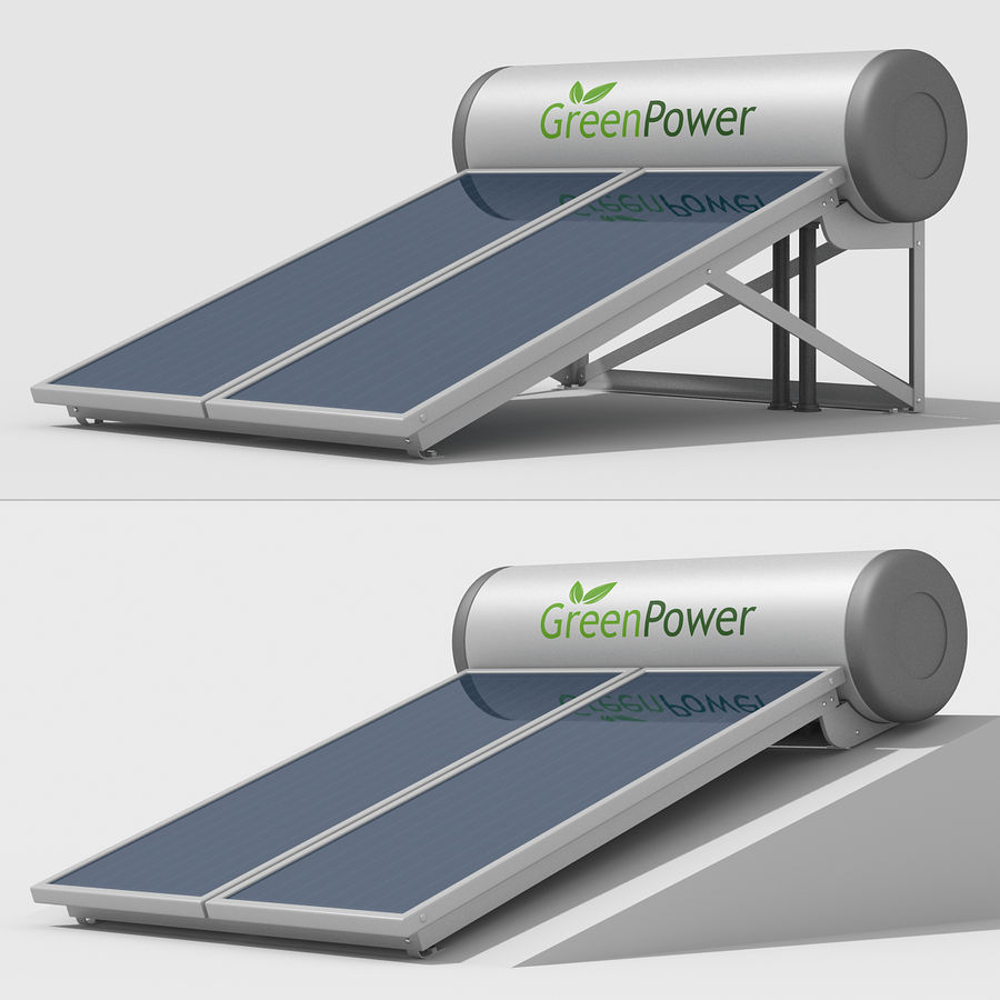 Solar Water Panels royalty-free 3d model - Preview no. 5