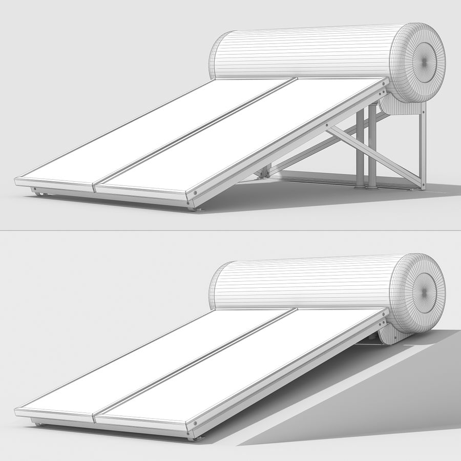 Solar Water Panels royalty-free 3d model - Preview no. 13