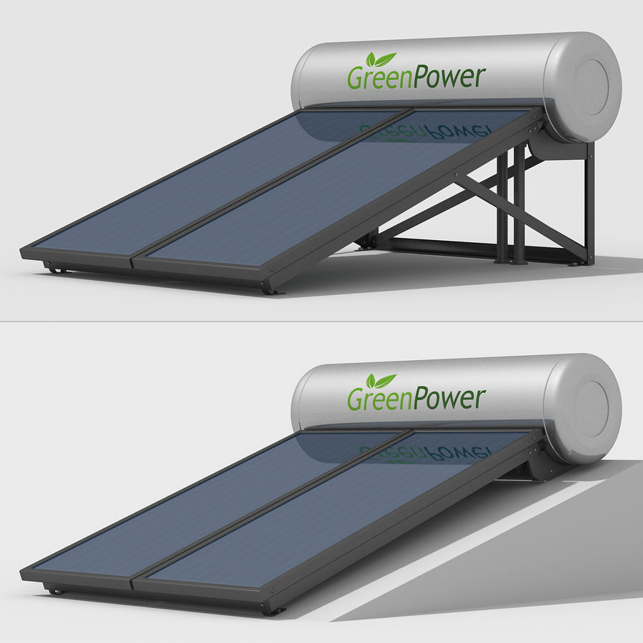 Solar Water Panels royalty-free 3d model - Preview no. 4
