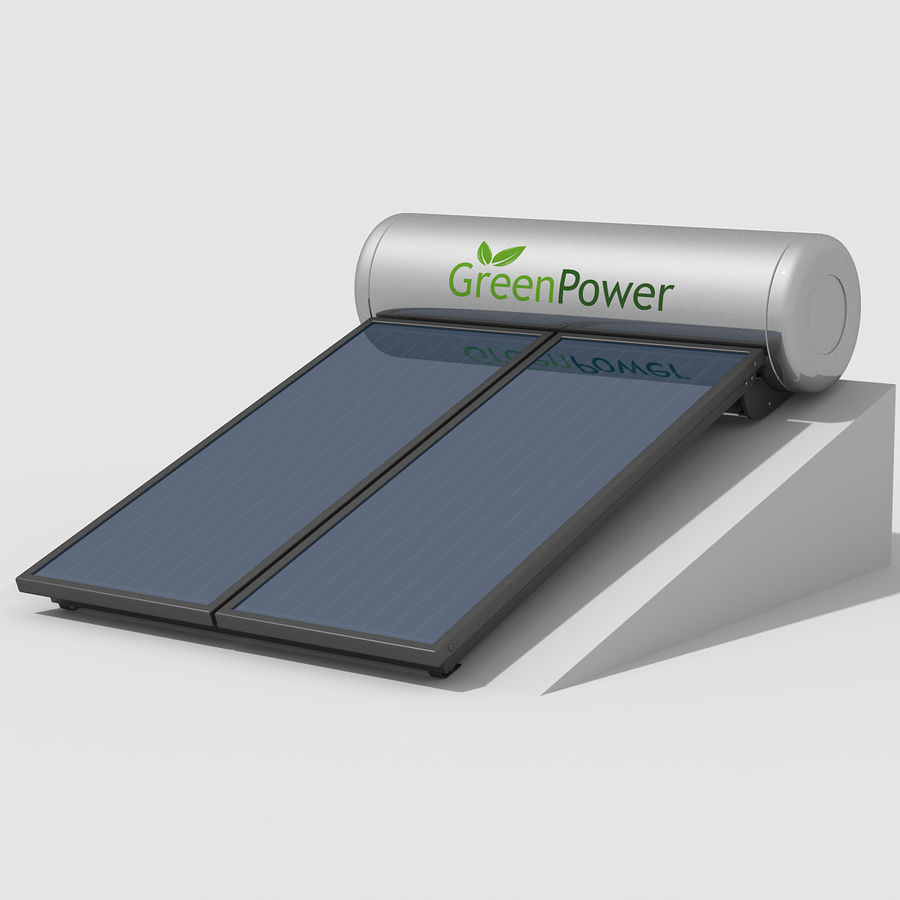 Solar Water Panels royalty-free 3d model - Preview no. 3