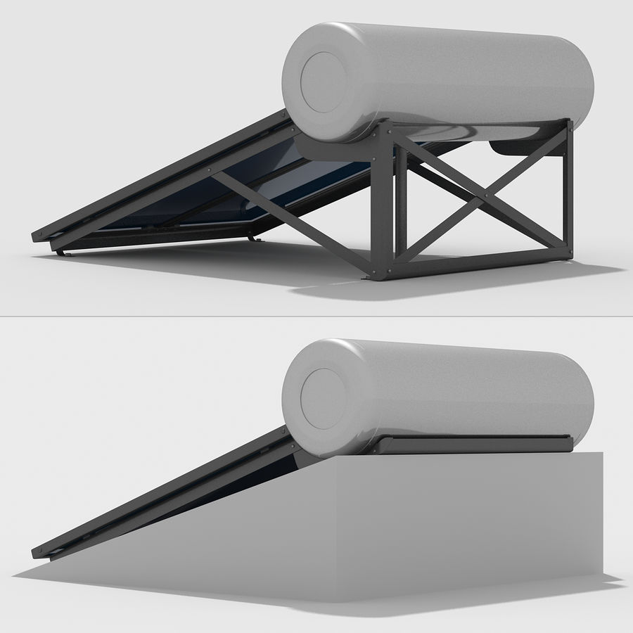 Solar Water Panels royalty-free 3d model - Preview no. 6