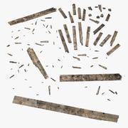 Tablas de madera rotas y dañadas modelo 3d