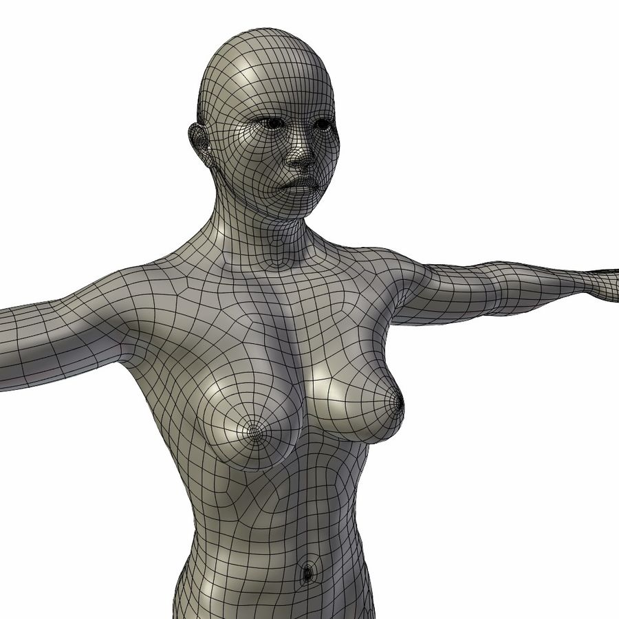 RIGGED Musclé Asiatique Femme Base Maillage royalty-free 3d model - Preview no. 4