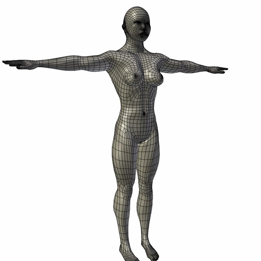 RIGGED Musclé Asiatique Femme Base Maillage royalty-free 3d model - Preview no. 5