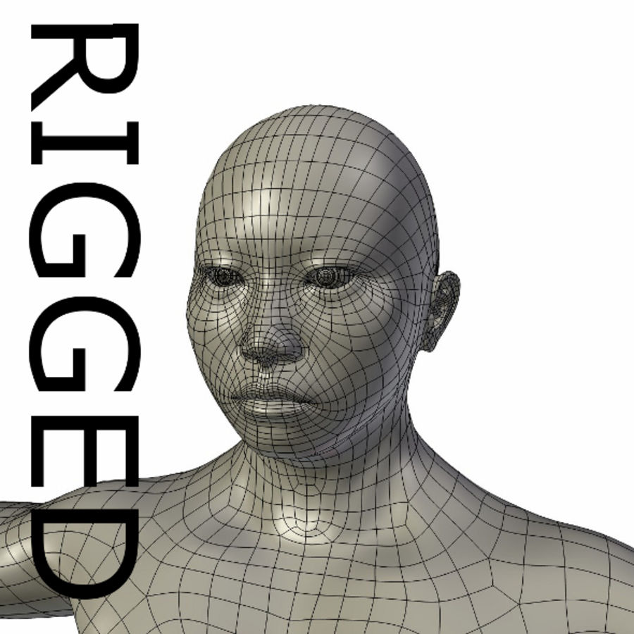 RIGGED Musclé Asiatique Femme Base Maillage royalty-free 3d model - Preview no. 1