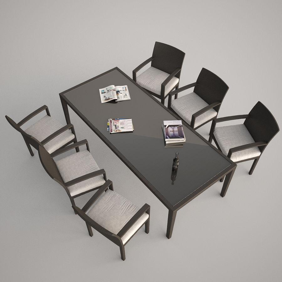 Dedon Panama Rattan Lounge Chair royalty-free 3d model - Preview no. 4