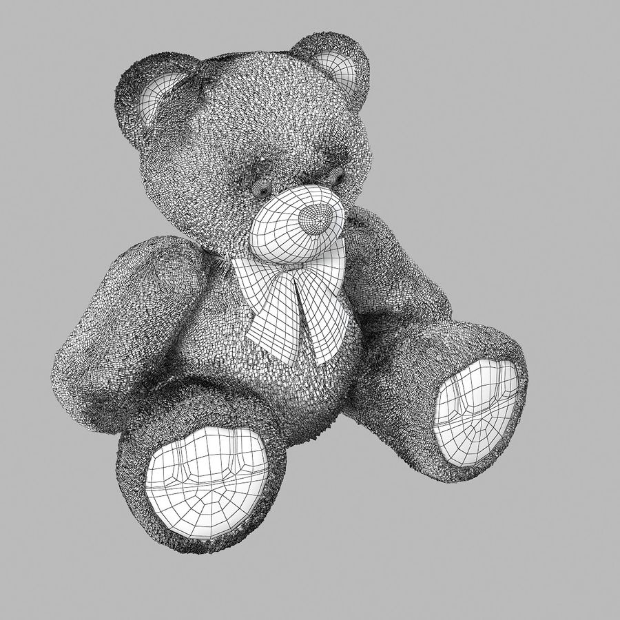 Fur Bear Toy royalty-free 3d model - Preview no. 6
