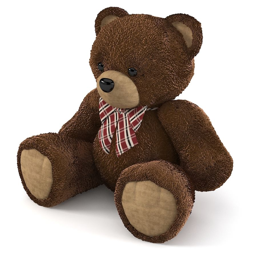 Fur Bear Toy royalty-free 3d model - Preview no. 3