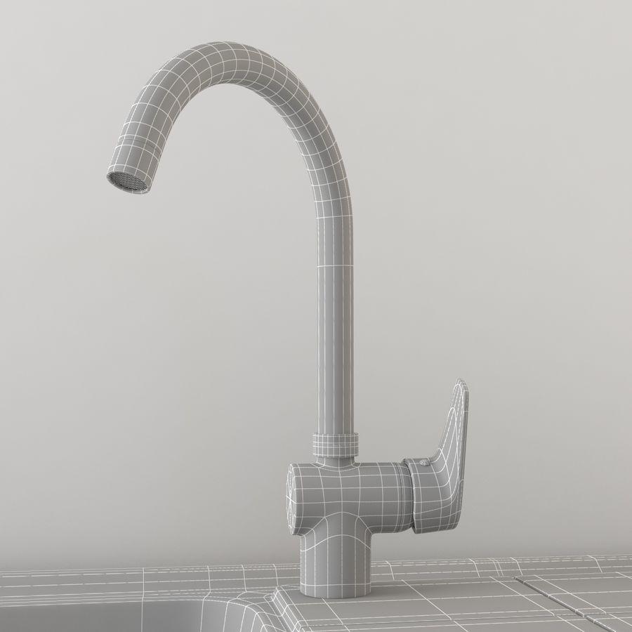 Lavello da cucina con rubinetto royalty-free 3d model - Preview no. 8