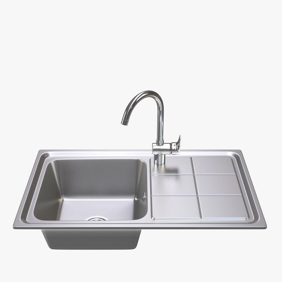 Lavello da cucina con rubinetto royalty-free 3d model - Preview no. 1