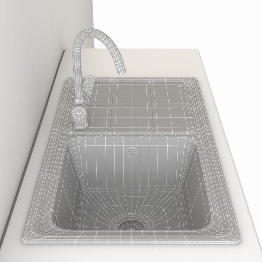 Lavello da cucina con rubinetto royalty-free 3d model - Preview no. 9