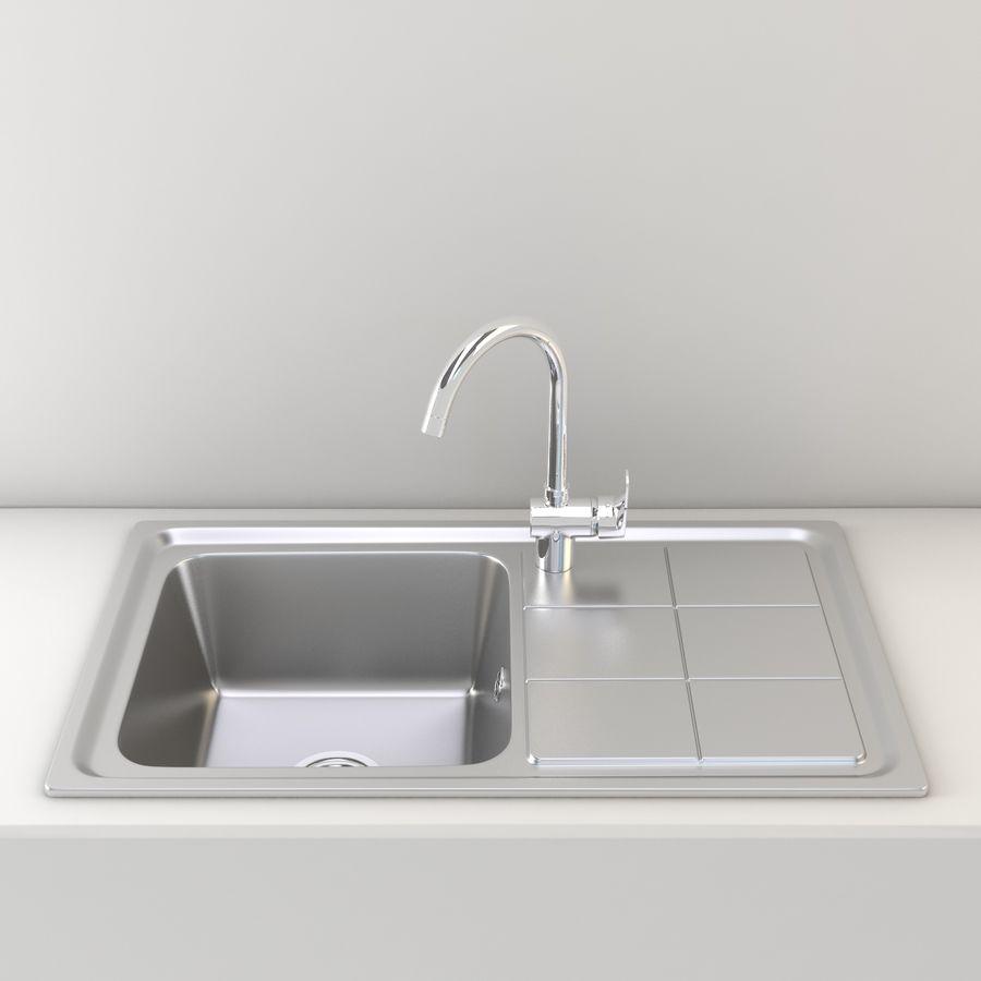 Lavello da cucina con rubinetto royalty-free 3d model - Preview no. 2