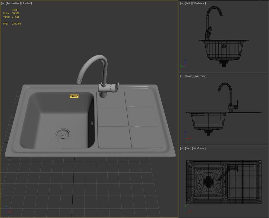 Lavello da cucina con rubinetto royalty-free 3d model - Preview no. 12